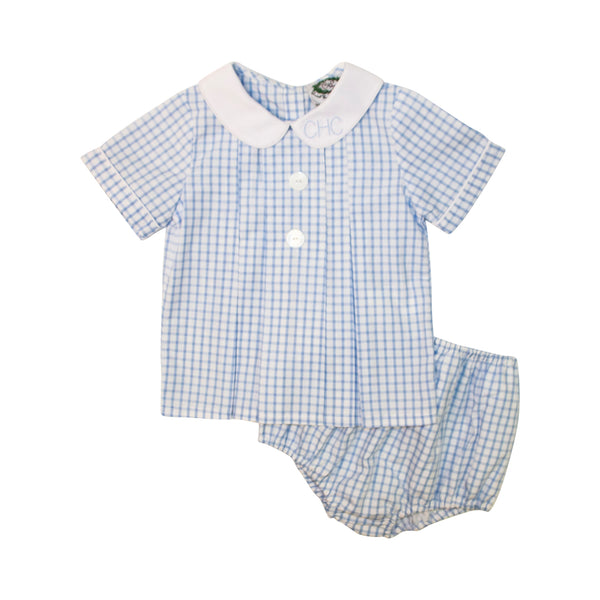 Blue Windowpane Pleated Diaper Set