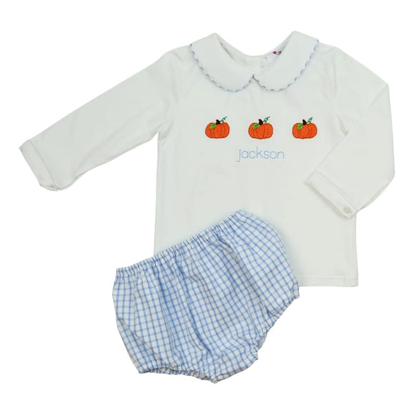 Blue Windowpane Pumpkin Diaper Set