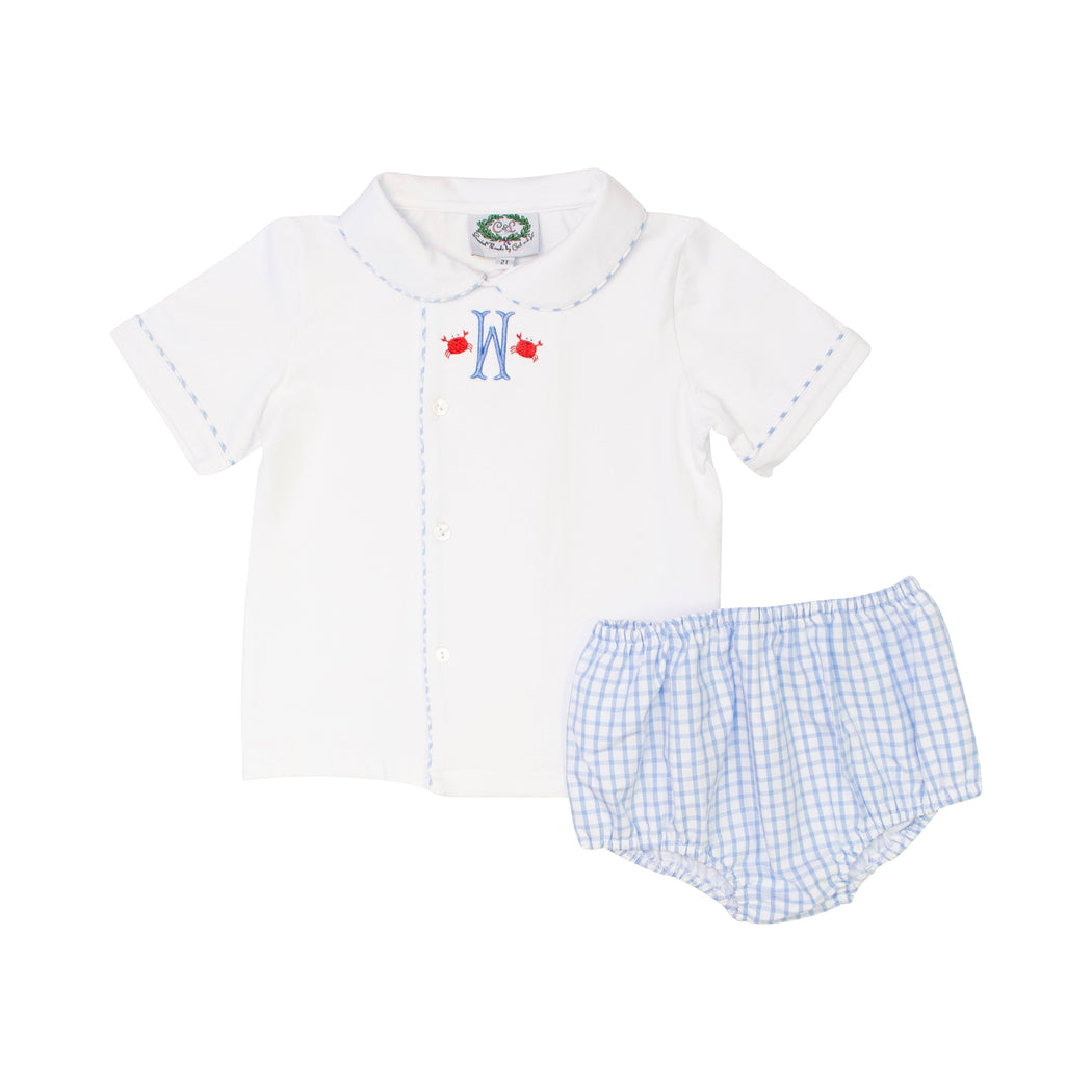 Blue Windowpane Side Button Diaper Set