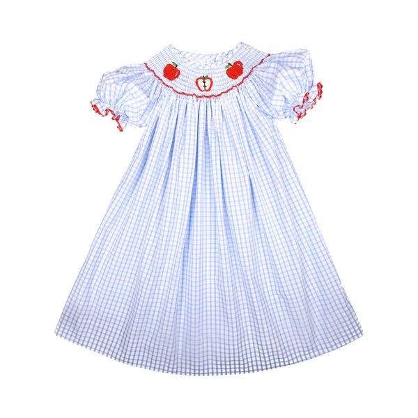 Blue Windowpane Smocked Apple Bishop Dress