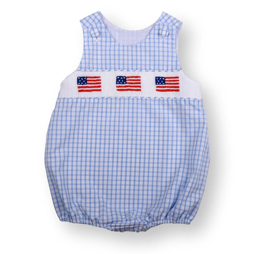 Blue Windowpane Smocked Flag Boys Bubble