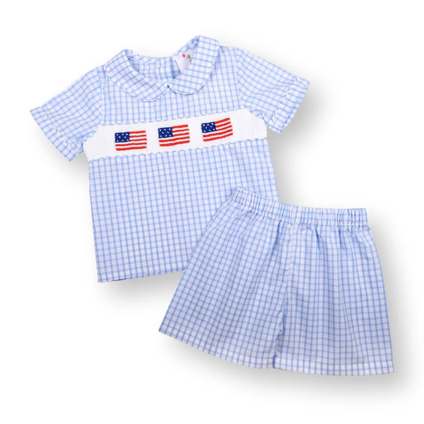 Blue Windowpane Smocked Flag Short Set