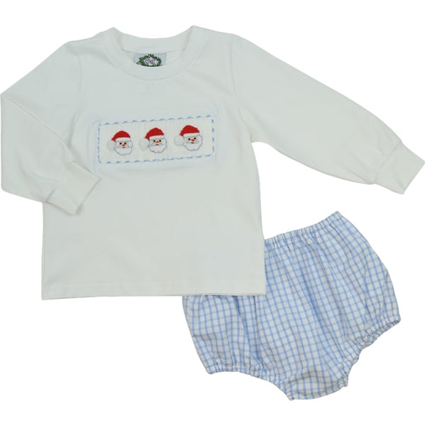 Blue Windowpane Smocked Santa Diaper Set
