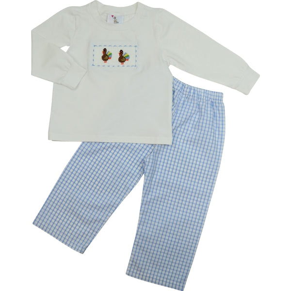Blue Windowpane Smocked Turkey Pant Set