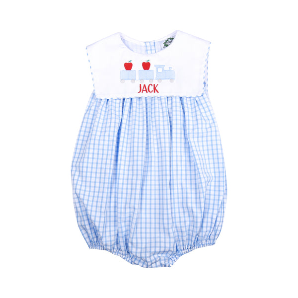 Blue Windowpane Square Collar Boy Bubble