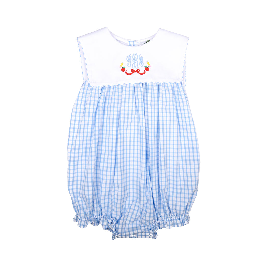 Blue Windowpane Square Collar Girl Bubble