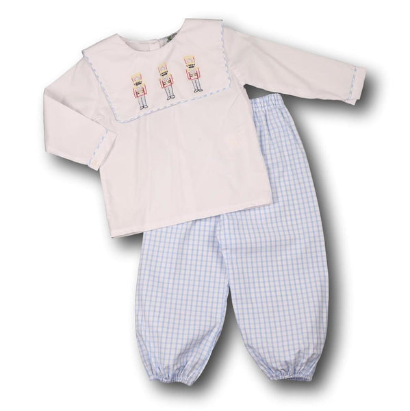 Blue Windowpane Toy Soldier Pant Set
