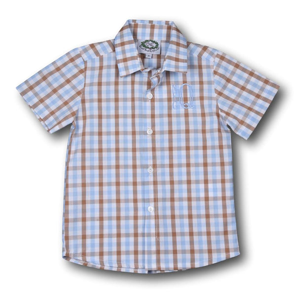 Blue and Brown Check Button Down