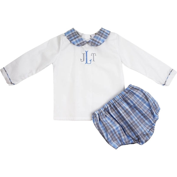 Blue and Grey Plaid Diaper Set