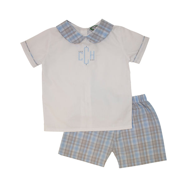 Blue and Grey Plaid Short Set