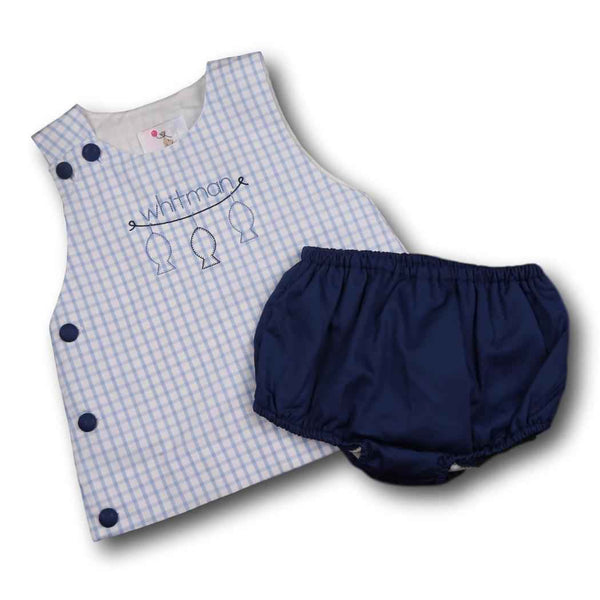Blue and Navy Windowpane Diaper Set