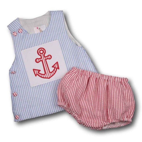 Blue and Red Seersucker Applique Anchor Diaper Set