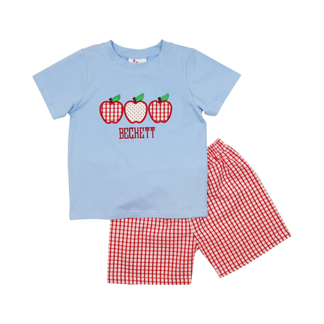 Blue and Red Windowpane Apple Short Set
