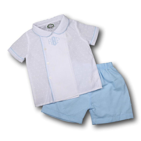 Blue and White Swiss Dot Boys Short Set