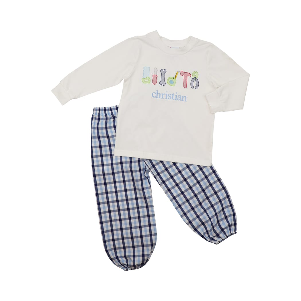 Blue and Navy Plaid Tools Pant Set