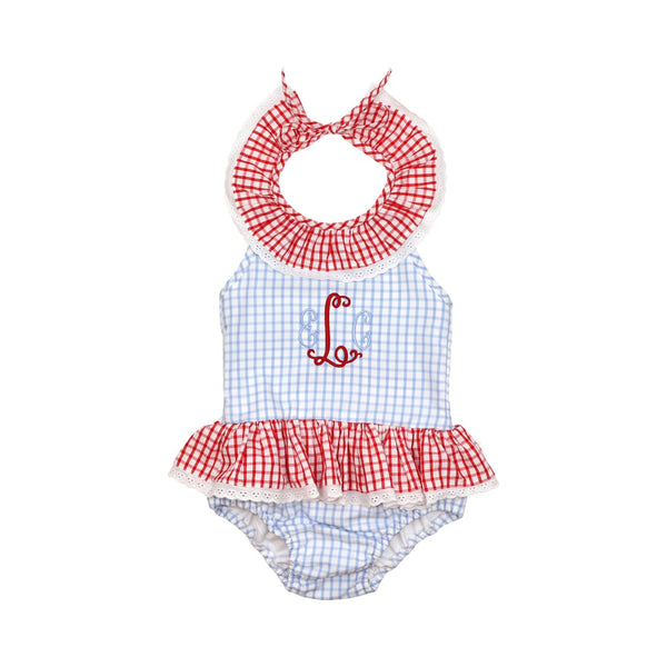 Blue and Red Windowpane Ruffle Swimsuit