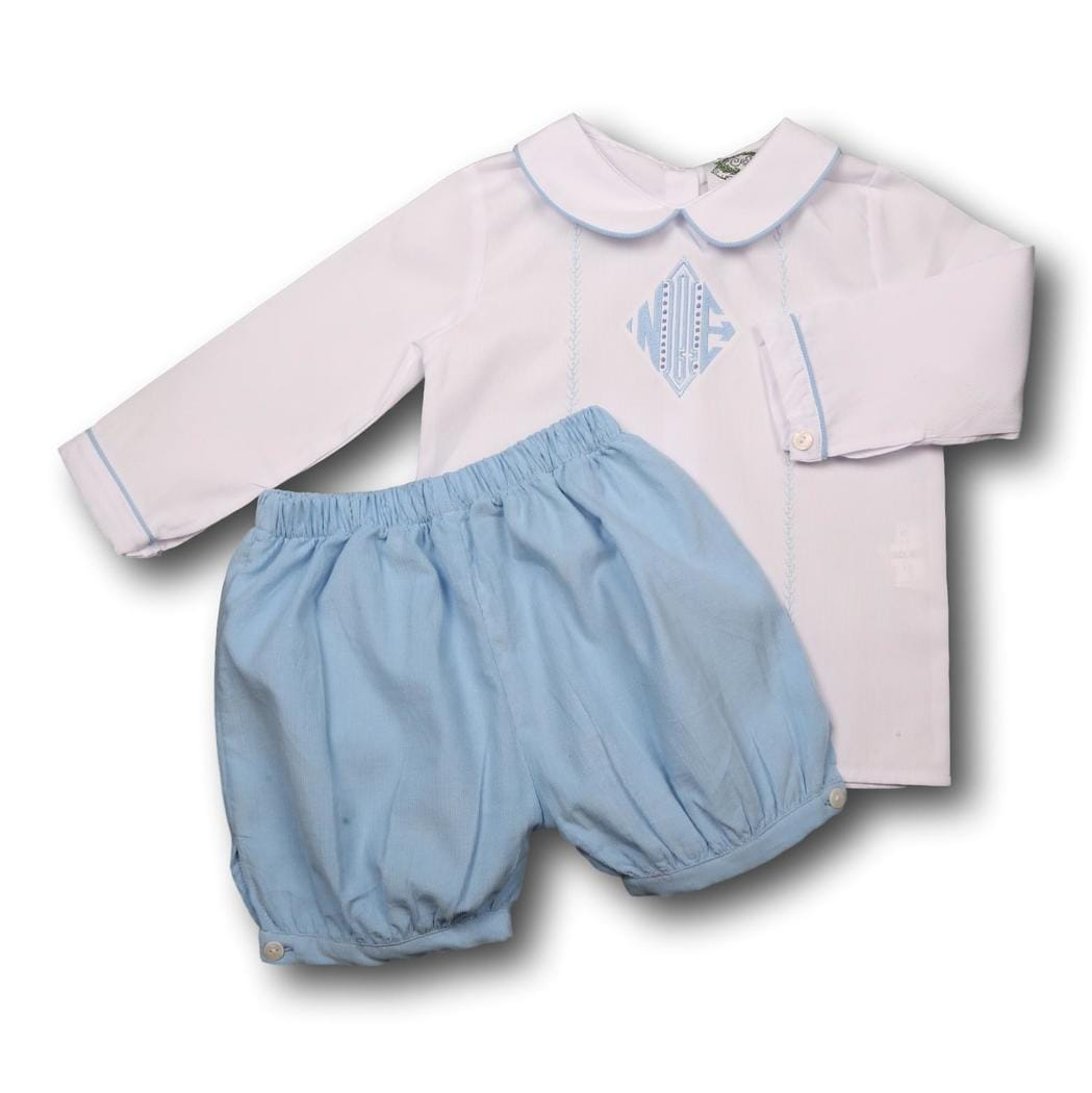 Blue and White Corduroy Short Set