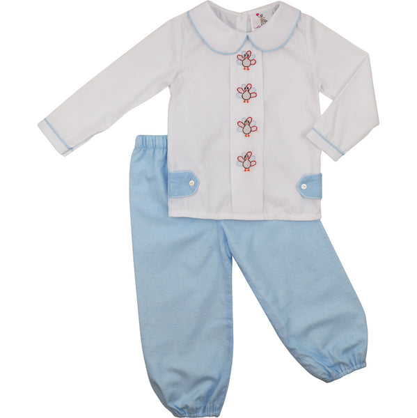 Blue and White Swiss Dot Turkey Pant Set