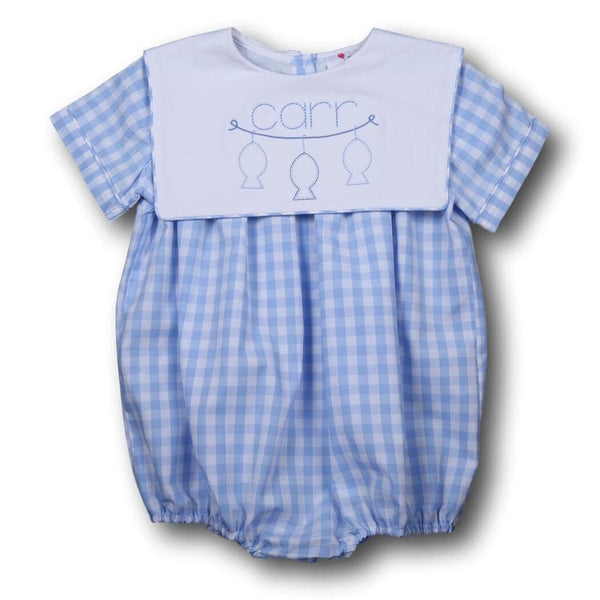 Boys Bubbles - Blue check boys square collar bubble