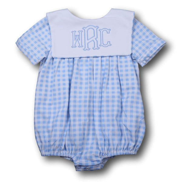 Boys Bubbles - Blue check knit square collar bubble