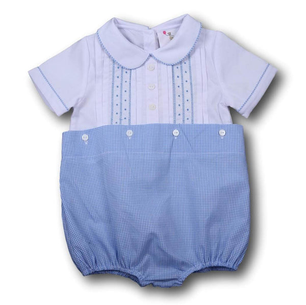 Boys Bubbles - Blue gingham embroidered button on bubble