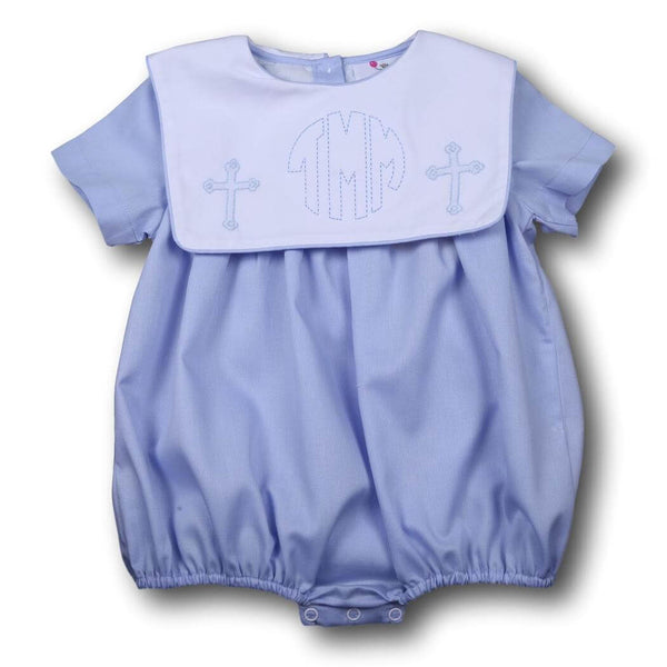 Boys Bubbles - Blue pique cross bubble