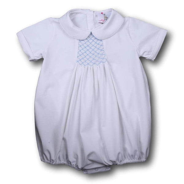 Boys Bubbles - white knit boys geometric smocked bubble