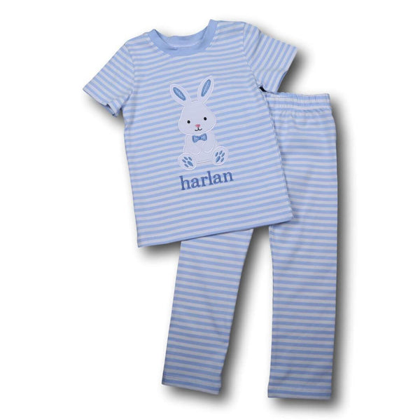 Boys Pajamas - Blue mini stripe applique bunny pj set