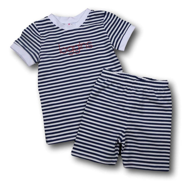 Boys Pajamas - Navy mini stripe knit pj set
