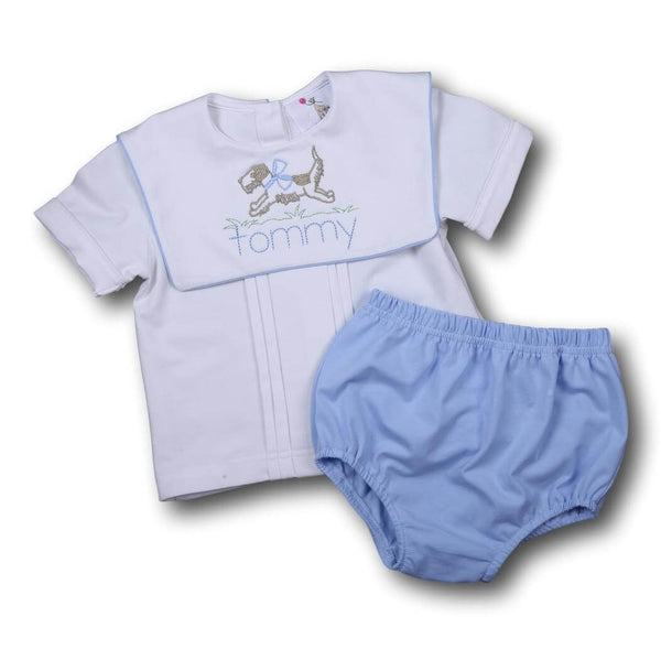 Boys Sets - Boys Diaper Set - Blue and white knit square collar diaper set