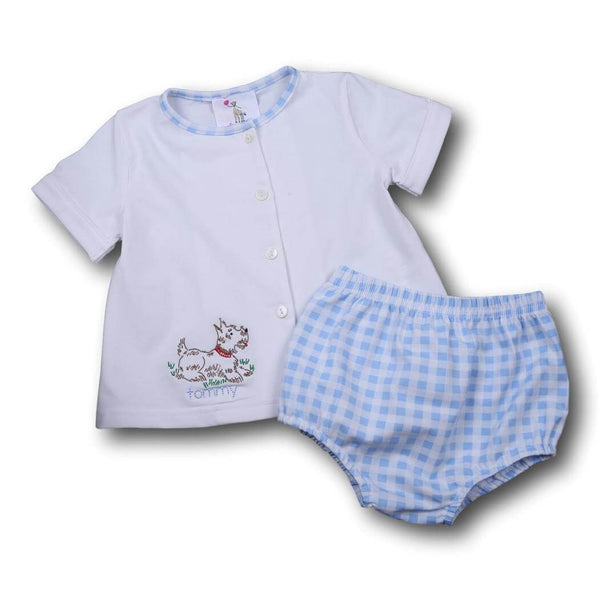 Boys Sets - Boys Diaper Set - Blue check knit embroidered puppy diaper set