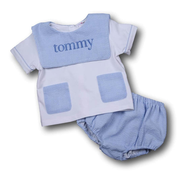 Boys Sets - Boys Diaper Set - Blue seersucker pocket diaper set