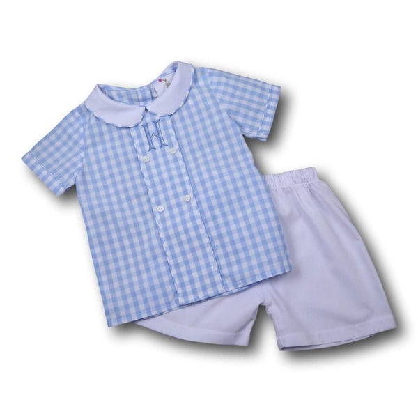 Boys Sets - Boys Short Set - Blue check double button short set