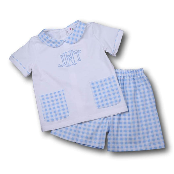Boys Sets - Boys Short Set - Blue knit check boys pocket short set