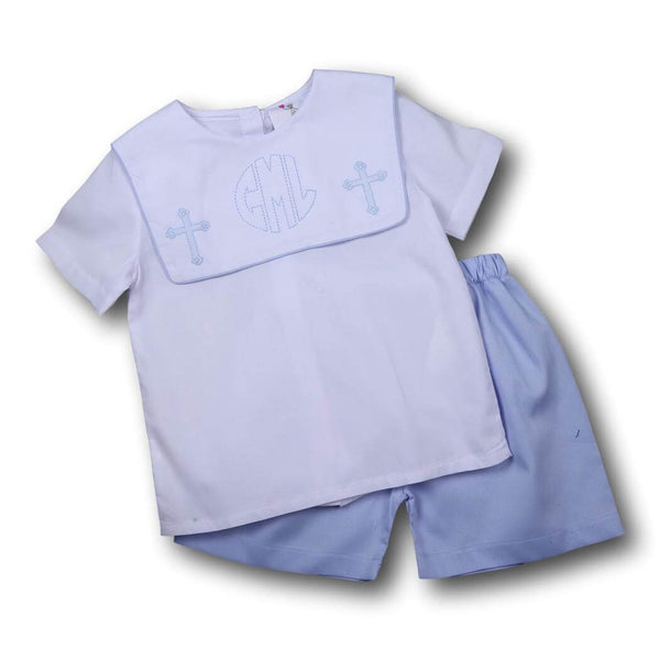 Boys Sets - Boys Short Set - Blue pique cross short set
