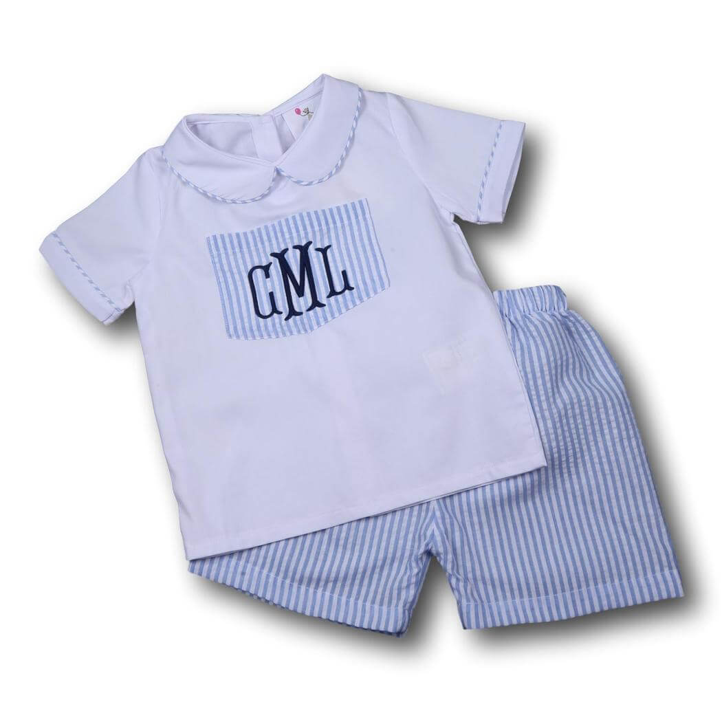 Boys Sets - Boys Short Set - Blue seersucker pocket short set