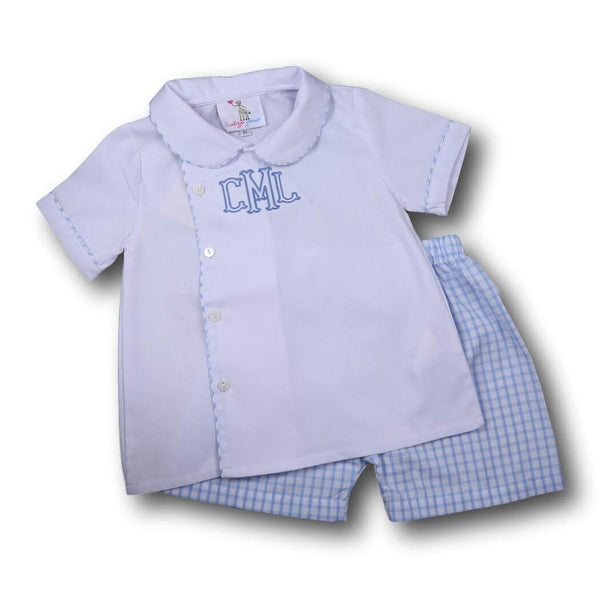 Boys Sets - Boys Short Set - Blue seersucker side button short set