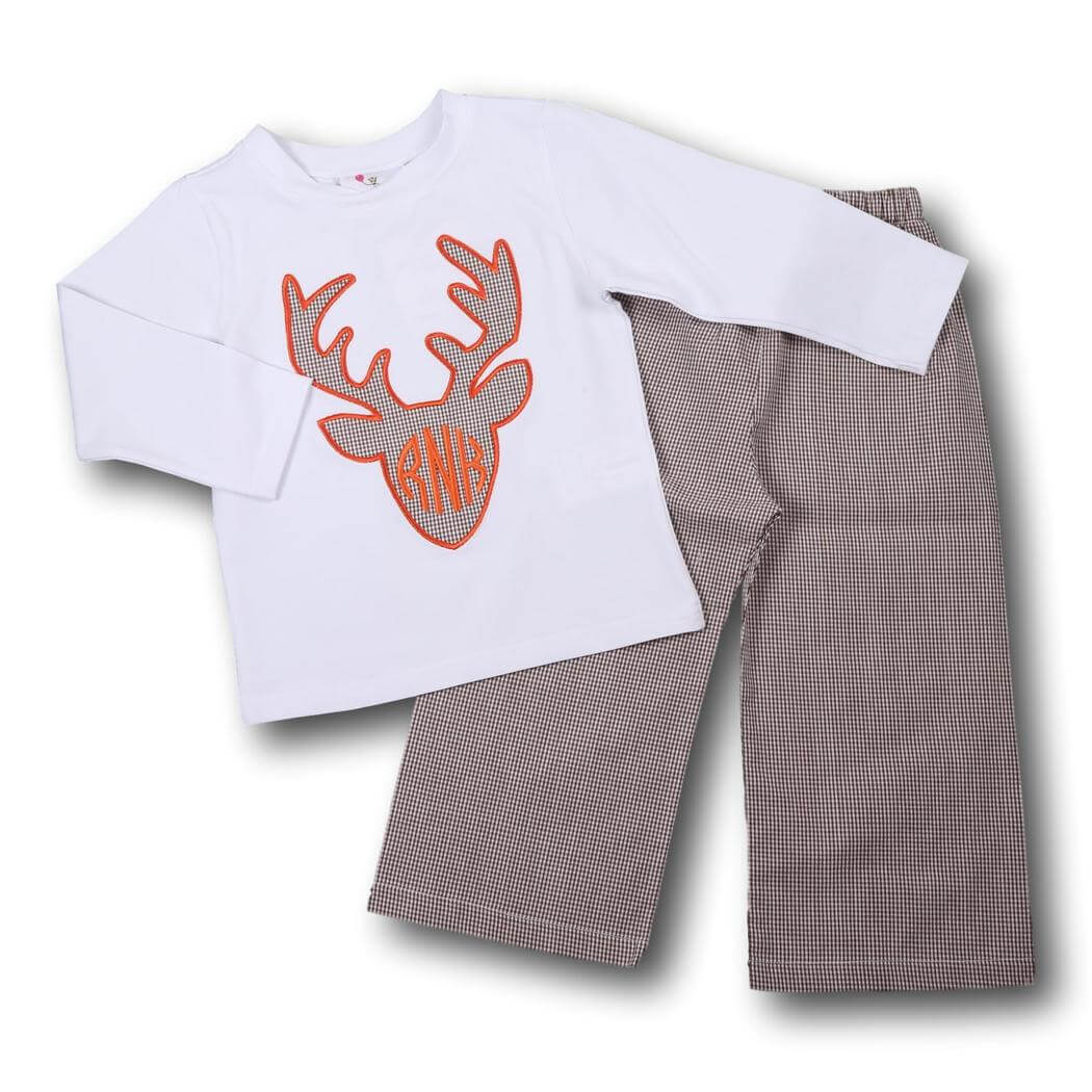 Brown Gingham Antler Pant Set