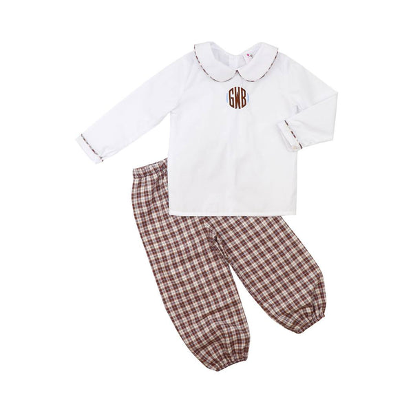Brown and Blue Flannel Plaid Pant Set