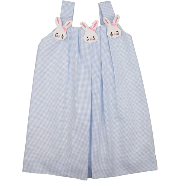 Blue Gingham Applique Bunny Face Dress
