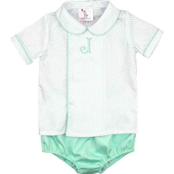 Mint Dot Pique Side Button Diaper Set
