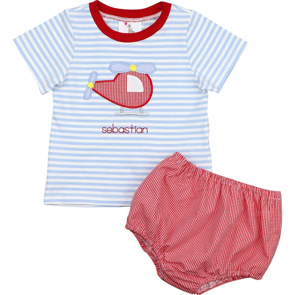 Blue Stripe And Red Applique Helicopter Diaper Set
