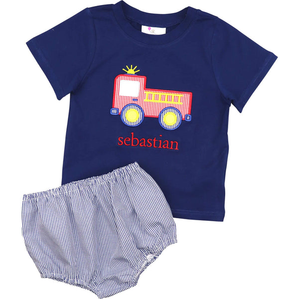 Navy Gingham Applique Firetruck Diaper Set