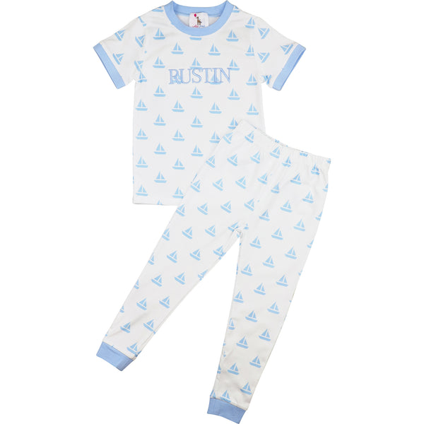 Blue Knit Sailboat Pajamas