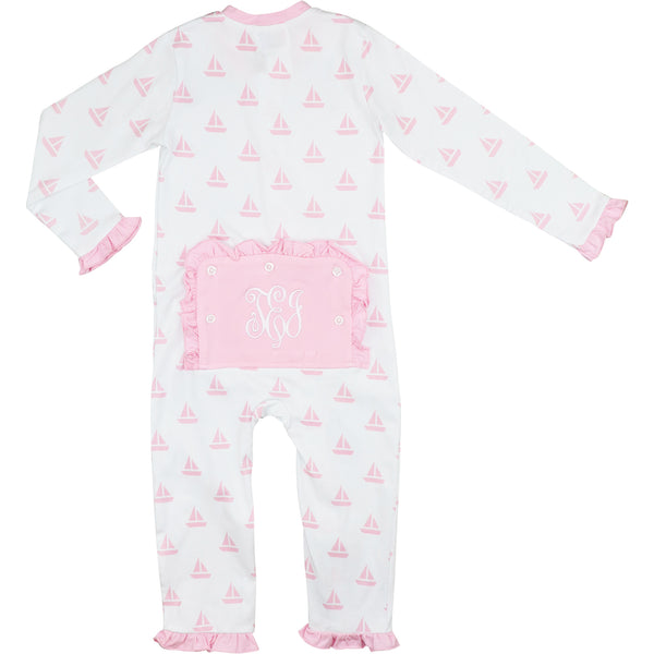 Pink Knit Sailboat Zipper Pajamas