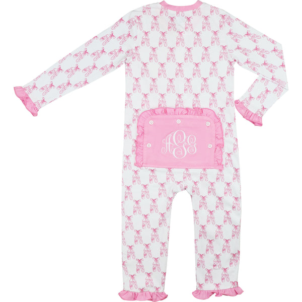 Pink Knit Ballet Slipper Zipper Pajamas