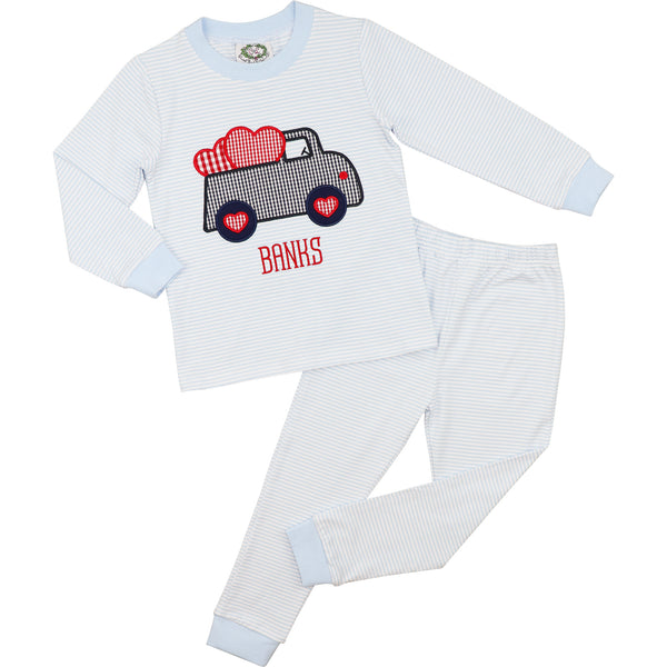 Light Blue Stripe Knit Truck And Hearts Pajamas