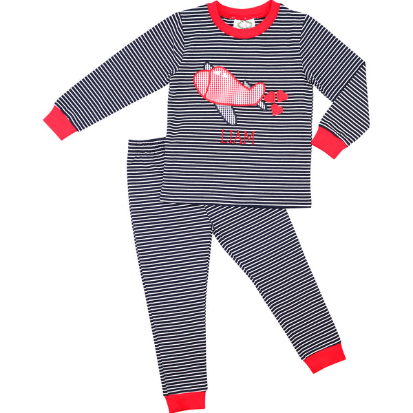Navy Stripe Knit Airplane And Hearts Pajamas