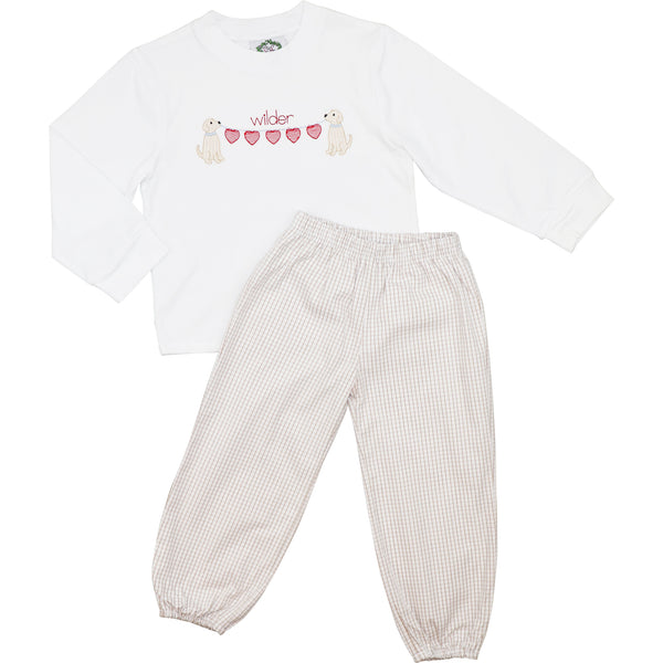 Khaki Windowpane Dogs And Hearts Ankle Pant Set