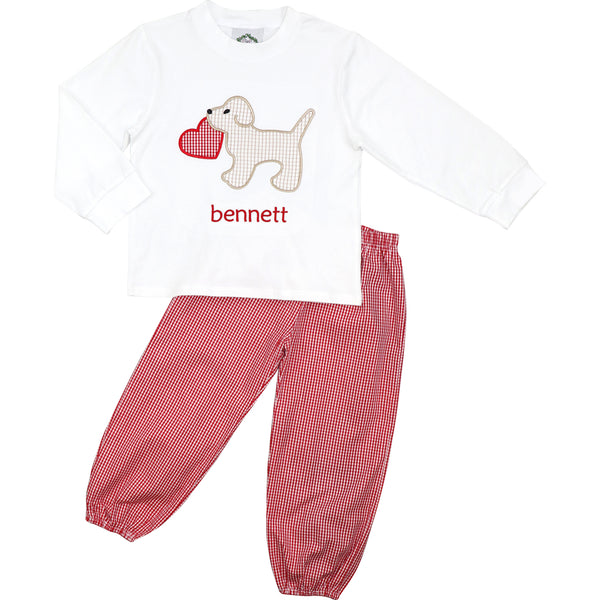 Red Gingham Puppy And Heart Ankle Pant Set